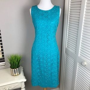 Talbots Teal Lace Cocktail Sheath Dress
